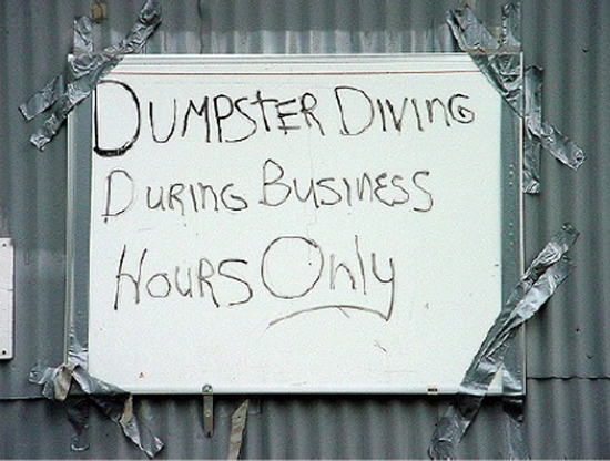 Businesses have a mixed attitude towards dumpster divers.